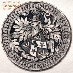 """英国艺术家""""THOMAS MORING"""" 铜版纹章藏书票 票主:WILLIAM LUMSDEN BYERS 1901"""