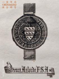 """英国艺术家""""THOMAS MORING"""" 铜版纹章藏书票 票主:HENRY AYLORDE 1901"""