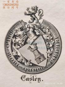 """英国艺术家""""THOMAS MORING"""" 铜版纹章藏书票 票主:JOHN CASLEY 1901"""