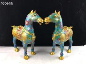 景泰蓝鎏金招财马一对,做工精美,保存完整,总重7.20公斤,细节如图,喜欢的联系
