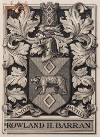 """英国艺术家""""THOMAS MORING"""" 铜版纹章藏书票 票主:ROWLAND H. BARRAN 1901"""