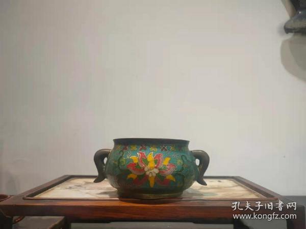 铜胎掐丝珐琅彩【景泰蓝】香炉,全品正常使用。