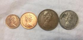 英国1/2、1、2、5便士四枚合售伊丽莎白青年头像(鄙视卖假币的)