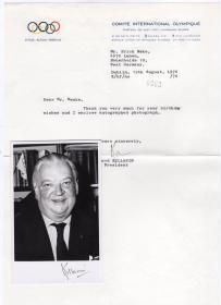 """国际奥委会主席 """"新中国重返奥运会推动者""""基拉宁勋爵 1976年亲笔签名照及奥委会官方签名信件"""