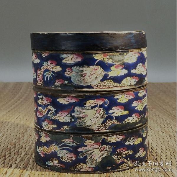 1988清代龙纹铜胎珐琅彩盖盒一套