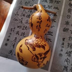 手工烙画葫芦— 露浥香凝花似玉 珍禽时傍晚窗前