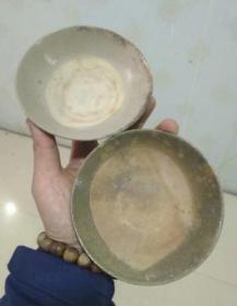 清,绿釉浅碗2个