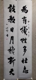 中国书协主席孙晓云书法对联一套,尺寸136*40厘米,保真!