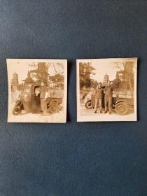 青岛湛山寺和三轮车老照片(2张)