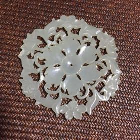 和田玉 六瓣花卉镂空雕花 玉佩 出口商品 5.5*0.25cm