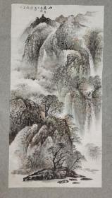 四川著名老画家 杨老 国画山高水长 四尺整纸 画心原稿手绘真迹