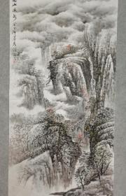 四川著名老画家 杨老 国画高山流水 四尺整纸 画心原稿手绘真迹
