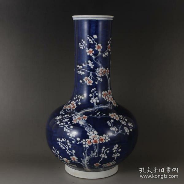 清青花官窑冰梅纹赏瓶
