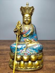 珍藏纯铜厚胎景泰蓝手工掐丝珐琅彩佛像  地藏王菩萨一尊