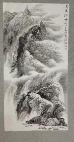 四川著名老画家 杨老 国画山水大渡河畔之八 四尺画心原稿手绘真迹