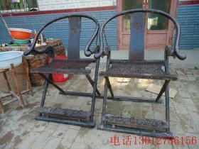 清代紫檀交椅古董古玩老紫檀椅子家具木器
