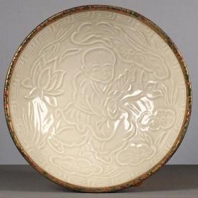 古董古玩杂项旧货老瓷老窑瓷定窑象牙白刻画人物茶碗