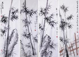 【自写自销】当代艺术家协会副主席王丞手绘  墨竹四条屏