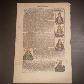 1493 World Chronicle or Nuremberg Chronicle No.168 珍稀摇篮本《纽伦堡编年史》又名《世界编年史》,最著名的摇篮本之一!丢勒及其老师超级珍贵原版木刻版画!本叶有5帧手工上色木刻版画,上色技巧精湛,颜料自然老化明显,非近现代后期上色,十分罕见珍贵。超大开本! 拉丁文版
