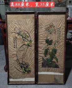 民国时期,刺绣玻璃画,做工精致,纯手工刺绣,保存完整,包老包真