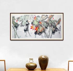 97百杰画家,中美协会员任恒泉四尺荷花精品有合影