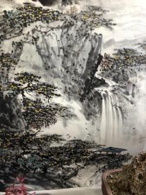 安徽著名画家沈力精品山水斗方