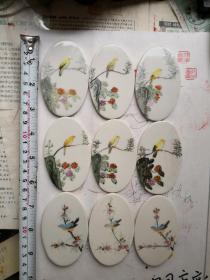 手绘花鸟纹瓷片一组   567瓷