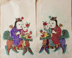 稀见南通工艺美术研究所藏品*七八十年代南通木版年画版画*麒麟送子之二