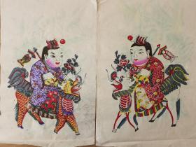稀见南通工艺美术研究所藏品*七八十年代南通木版年画版画*麒麟送子之一