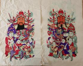 稀见南通工艺美术研究所藏品*七八十年代南通木版年画版画*大门神*五子鞭锏将军