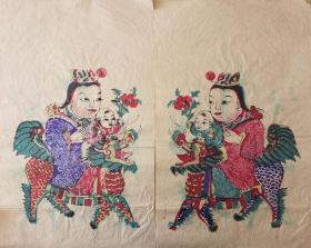 稀见南通工艺美术研究所藏品*七八十年代南通木版年画版画*麒麟送子之二麻纸