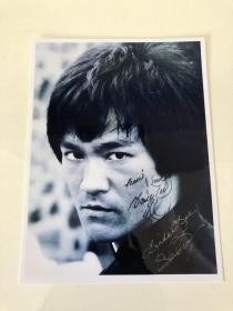 李小龙 琳达 李香凝签名照片 (8寸)bruce lee
