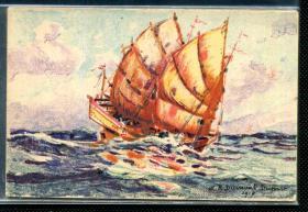 ☆.  民国明信片 --------  1917年 油画绘画 中国帆船  单枚价格 总共6片 选好留言即可