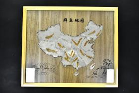 (丁2549)中国辽西古生物化石《狼鳍鱼群鱼地图》原盒一件 狼鳍鱼化石 产于中国辽西 形成于晚侏罗纪早白垩纪 距今已有一亿四千万年 化石尺寸:42*31cm 相框整体尺寸:61*51*2.5cm 一套化石含盒重量约为6公斤。