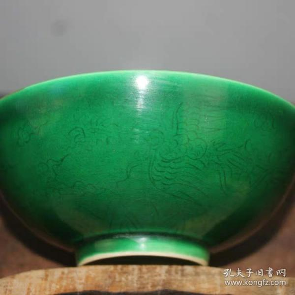 明代绿釉刻凤凰薄胎碗刀刻纹红釉青花
