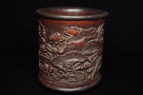竹子雕工镶嵌木口木底木口笔筒,重381克,380