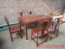 清代海南黄花梨桌椅7件套老木器
