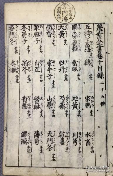 元禄和刻本《农业全书》11册全,有谷物粮食草木果蔬小插图。本书体现了古代中日在农业方面的交流。元禄9年(公元1696年),宫崎安贞参考中国《农政全书》和本草书,并总结日本农民的生产经验,出版了这套《农业全书》,使中国先进的农业技术在日本广为传播,成了江户时期日本农家至宝。