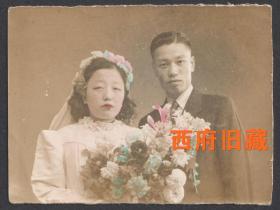 民国老照片,手工上色结婚合影老照片