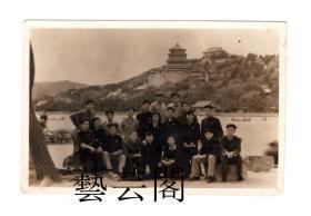 北京颐和园风光老照片人物合影11*7.5CM