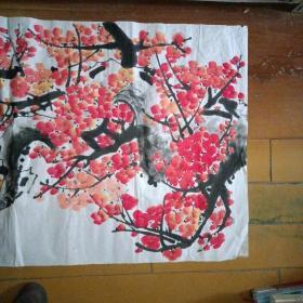 国家一级美术师,齐白石再传弟子(庄彦江)国画梅花,四尺整张,附创作证书