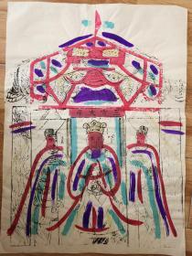 稀见南通工艺美术研究所藏品*七八十年代南通木版年画版画*大尺寸*三宫大帝