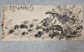 成都名家许老师国画人物 小品 渔者 原稿手绘真迹保真
