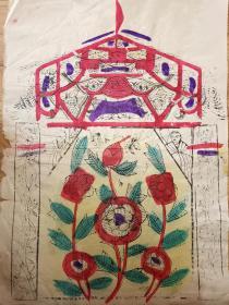 稀见南通工艺美术研究所藏品*七八十年代南通木版年画版画*大尺寸*元花