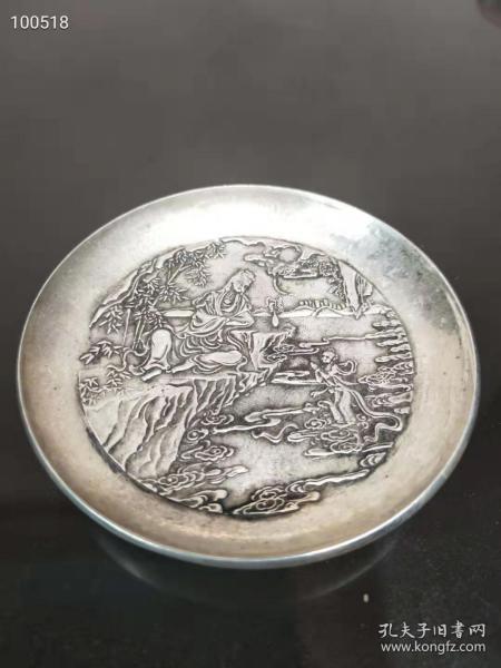 清代银盘,做工精致高浮雕,全品