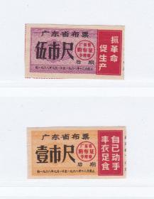 广东省68年语录布票后期 剪副 2枚 品如图 精美