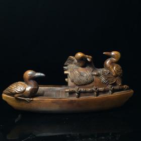鹭鸶捕鱼 木雕香插摆件