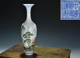 出口创汇期精品:景德镇制手绘薄胎山水观音瓶