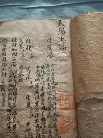 清代名医手写太阳篇中医治病秘方,内有黄连阿胶汤,药酒方等。