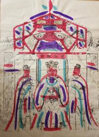 稀见南通工艺美术研究所藏品*七八十年代南通木版年画版画*大尺寸*司命灶君